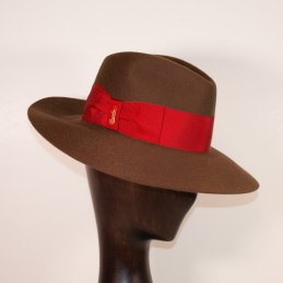 Tobacco cashmere hat with...