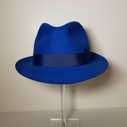 21a694a72d901 Unisex fedora hat in blue royal rabbit felt.